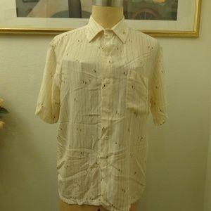 Vintage Striped Boat Print Silk Shirt